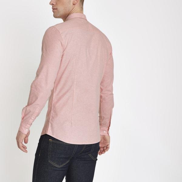 River Island - chemise en oxford ajustée rose - 3