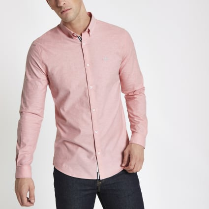 Pink muscle fit embroidered Oxford shirt