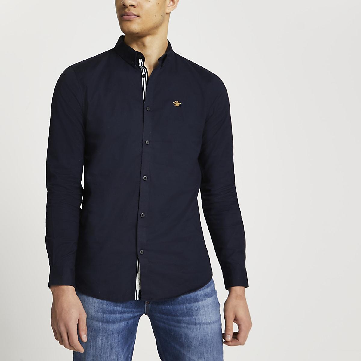 Marineblauw geborduurd Oxford overhemd met lange mouwen