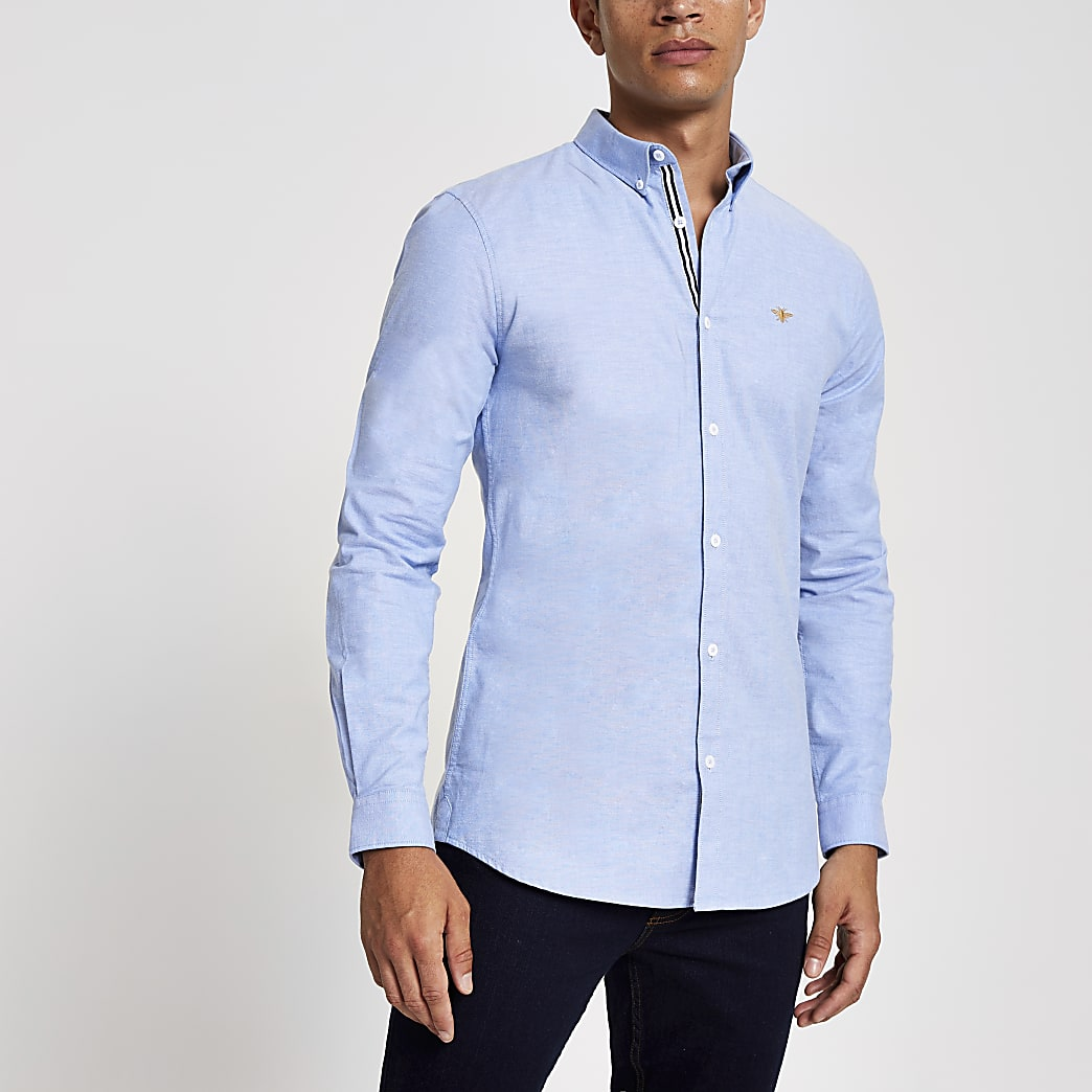 Blue embroidered muscle fit Oxford shirt