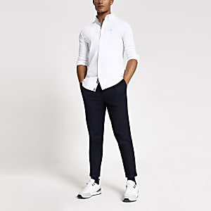Wit geborduurd overhemd met lange mouwen