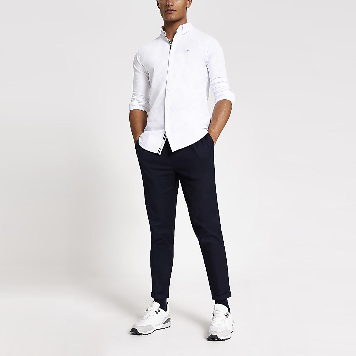 Chemise ajustée blanche brodée