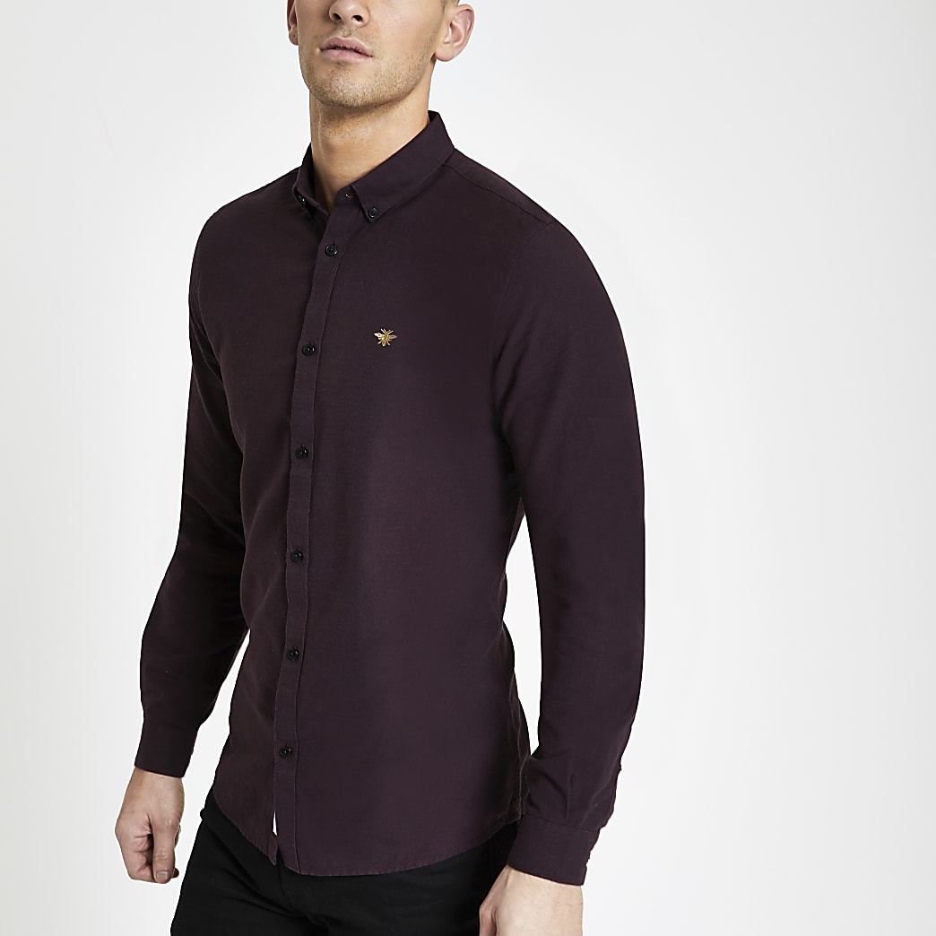 Burgundy grindle embroidered Oxford shirt