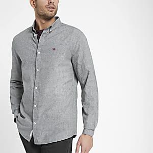 Grijs Oxford overhemd met visschubbenmotief en geborduurde wesp