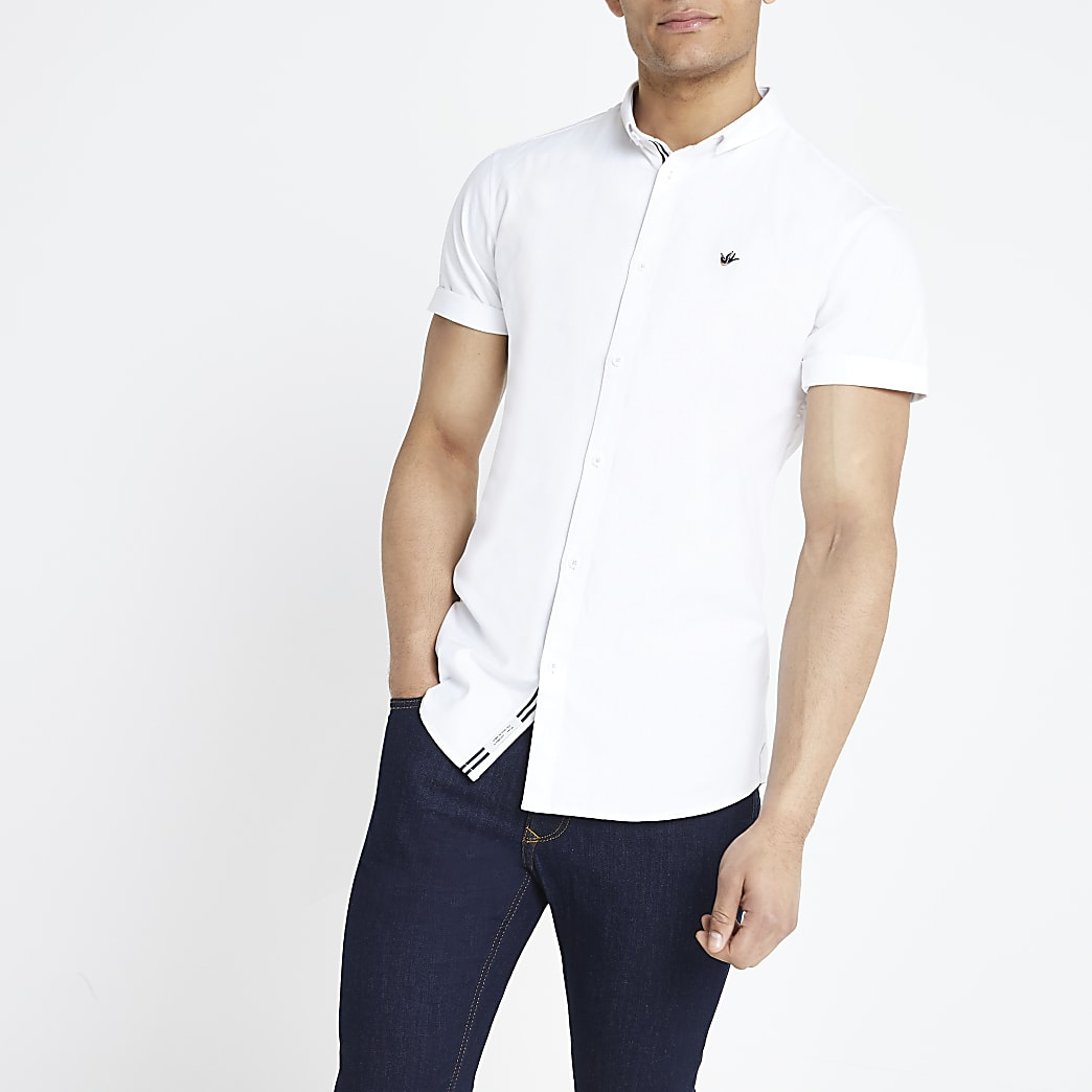 Chemise Oxford ajustée blanche à manches courtes