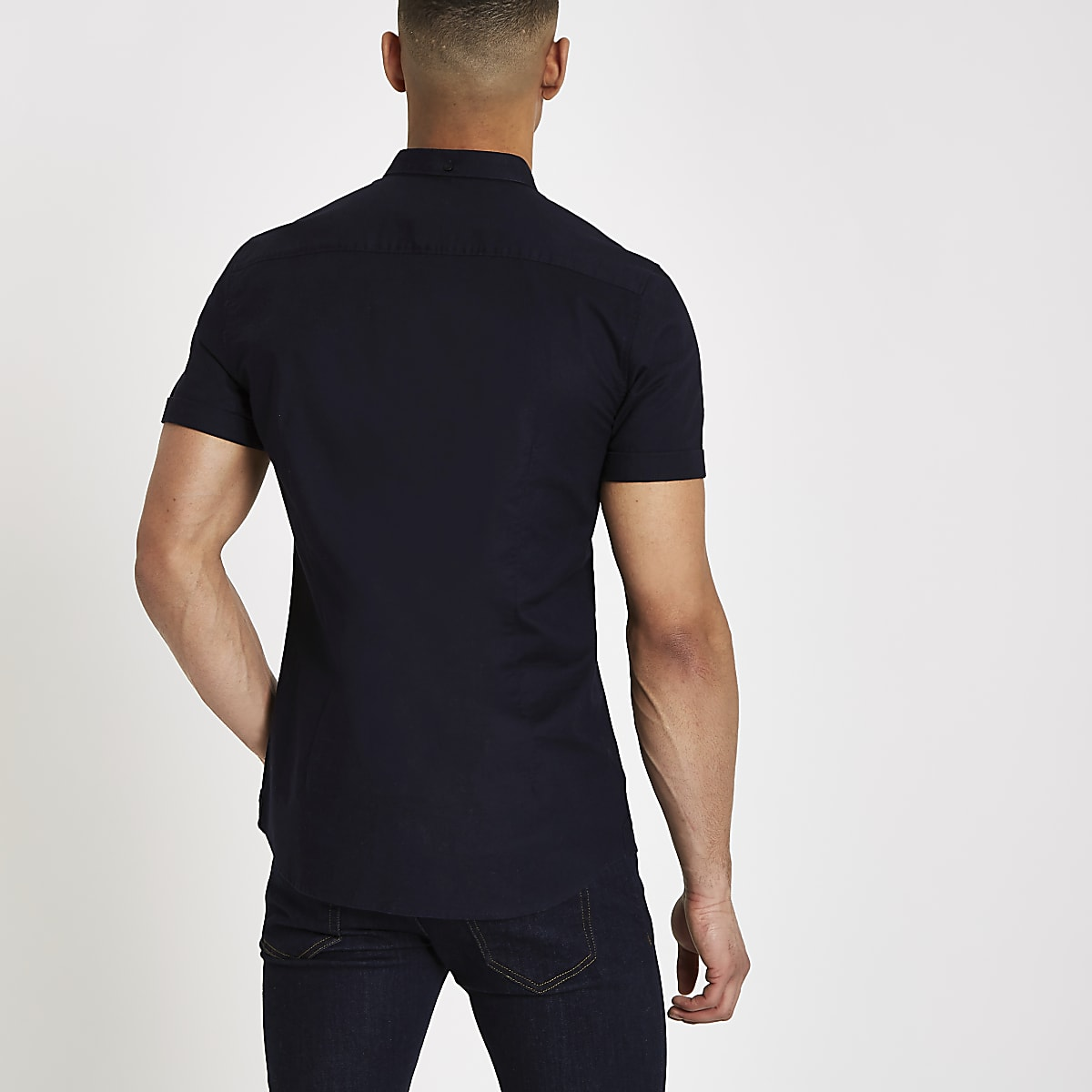 87776aec Navy muscle fit rose embroidered Oxford shirt - Short Sleeve Shirts ...