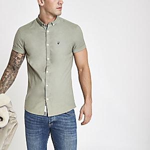Chemise Oxford kaki à manches courtes et broderies