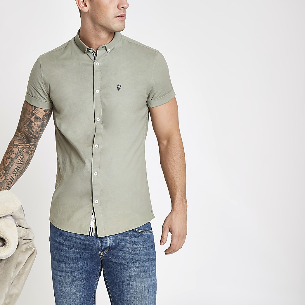 Khaki embroidery muscle fit Oxford shirt