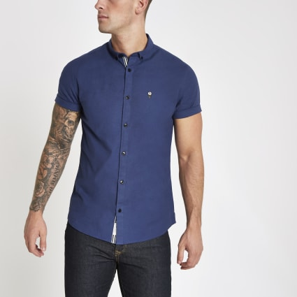 Blue muscle fit rose embroidered Oxford shirt