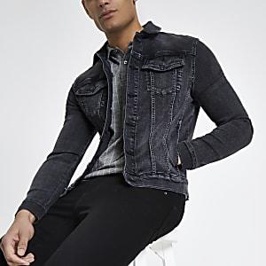 Schwarze Muscle Fit Jeansjacke