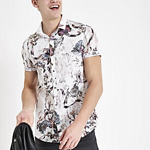 Ecru floral slim fit short sleeve shirt