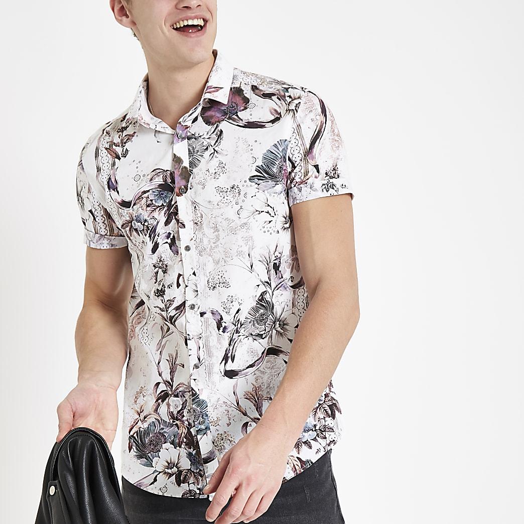 Chemise manches courtes slim à fleurs écrue