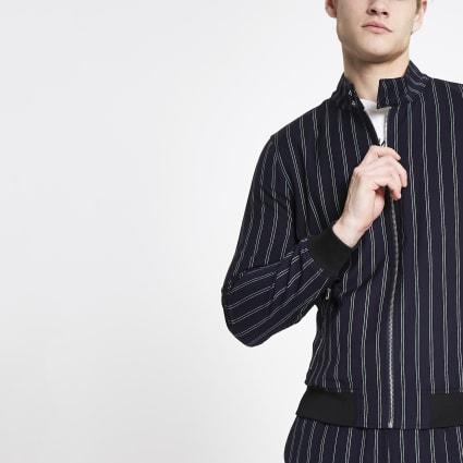 Navy stripe Harrington jacket