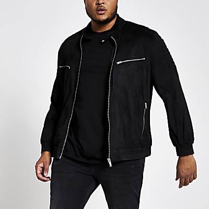Big and Tall black faux suede racer jacket