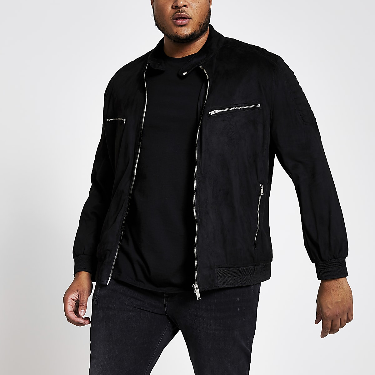 Big and Tall – Veste en suédine noir à col montant
