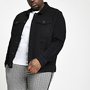 Big and Tall - Zwart stretch denim jack