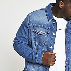 Big and Tall blue stretch denim jacket