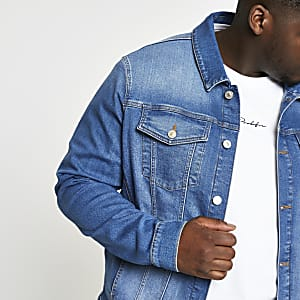 Big & Tall – Blaue Jeansjacke mit Stretch