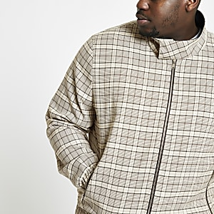 Big and Tall stone check Harrington jacket