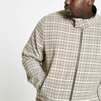 Big and Tall stone check Harrington jacket