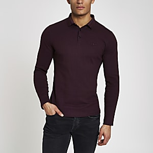 Burgundy muscle fit long sleeve polo shirt