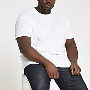 Big and Tall white slim fit crew neck T-shirt