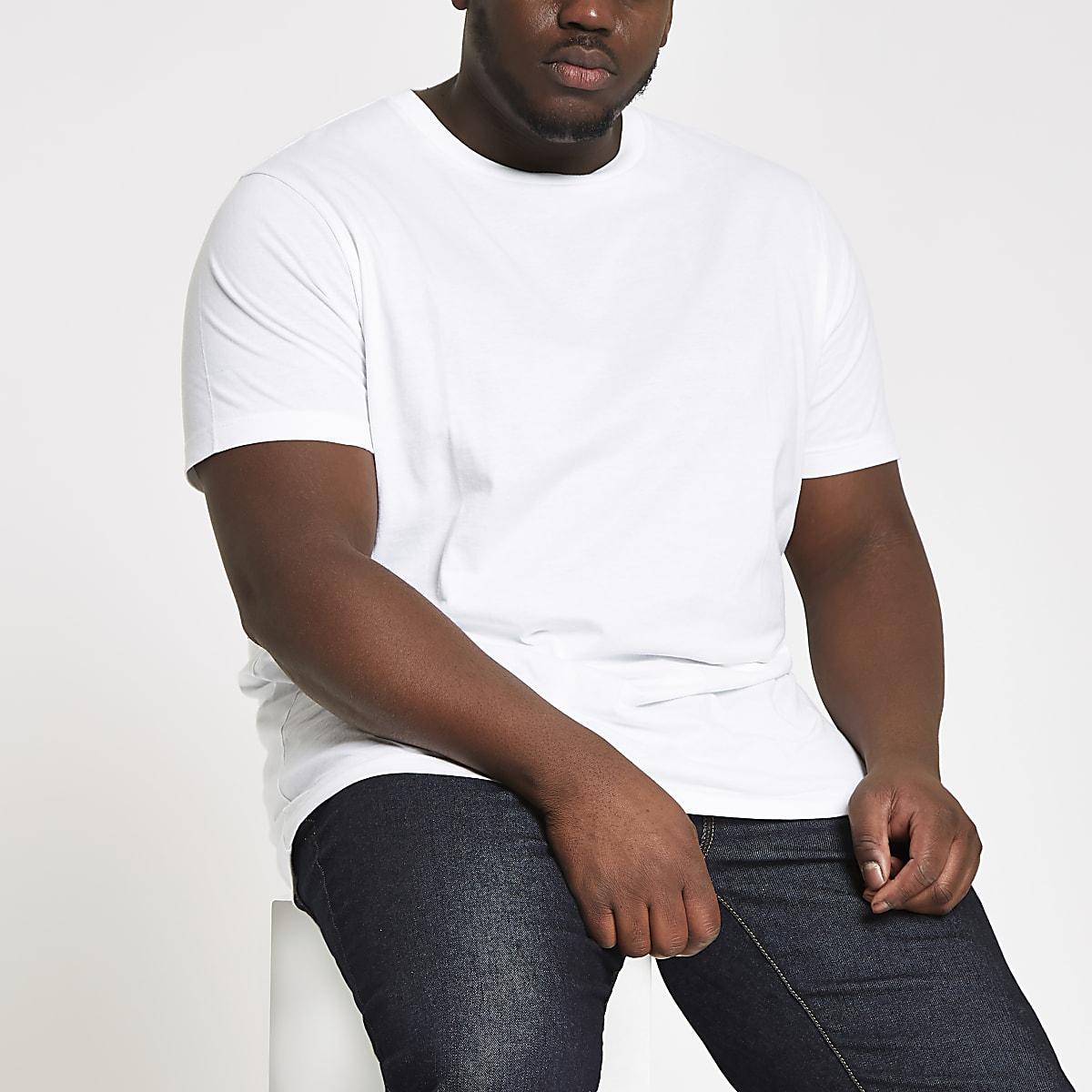 Big & Tall – Weißes Slim Fit T-Shirt