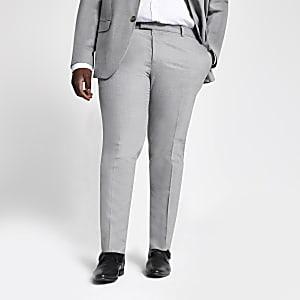Big and Tall - Grijze pantalon met textuur