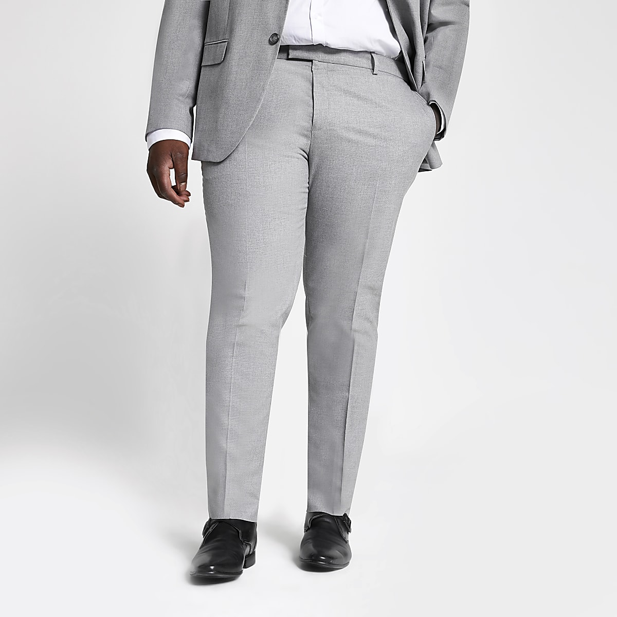 Big & Tall – Graue Anzughose mit Struktur