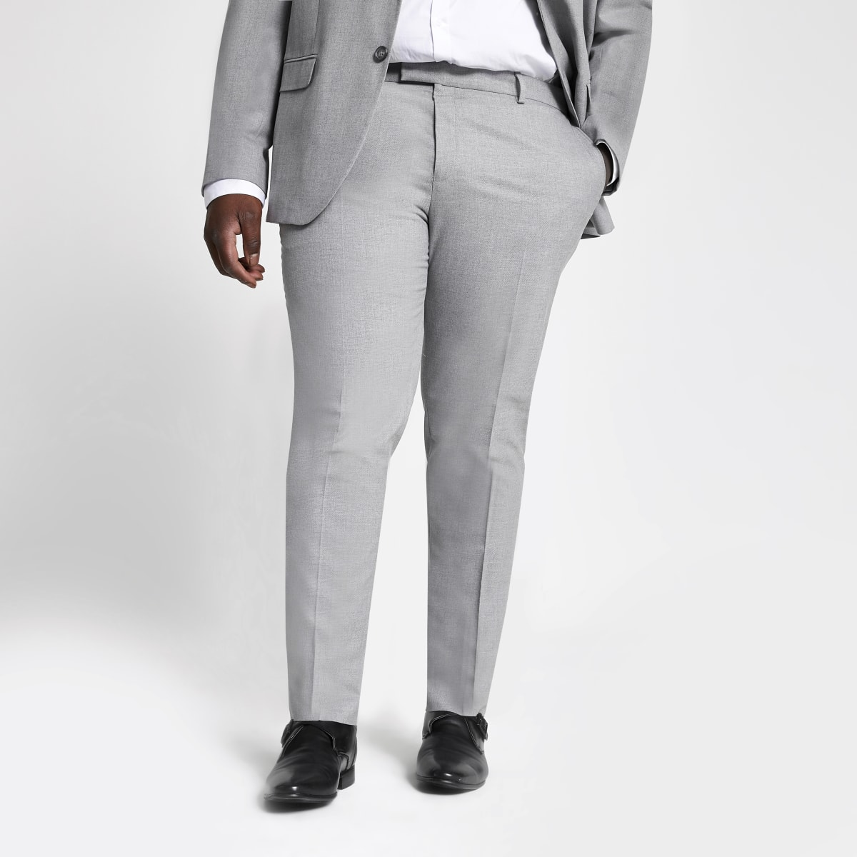 Big and Tall – Pantalon de costume gris texturé