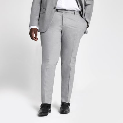 Big and Tall grey textured suit trousers