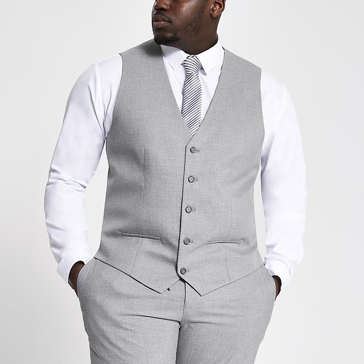 Big & Tall – Graue Anzugsweste mit Struktur