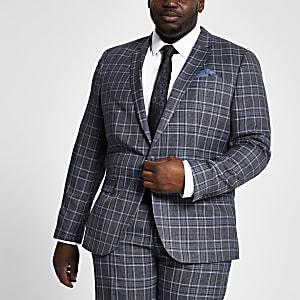 Big & Tall – Blaue, karierte Anzugjacke