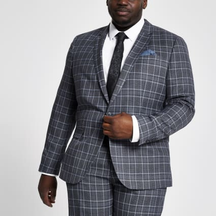 Big and Tall blue check suit jacket