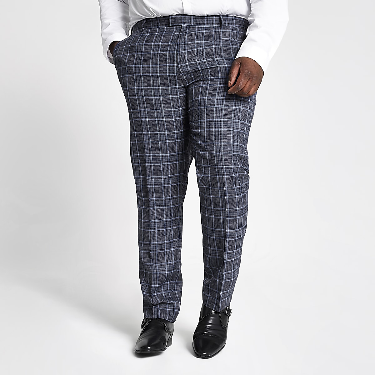 Big and Tall blue check suit pants