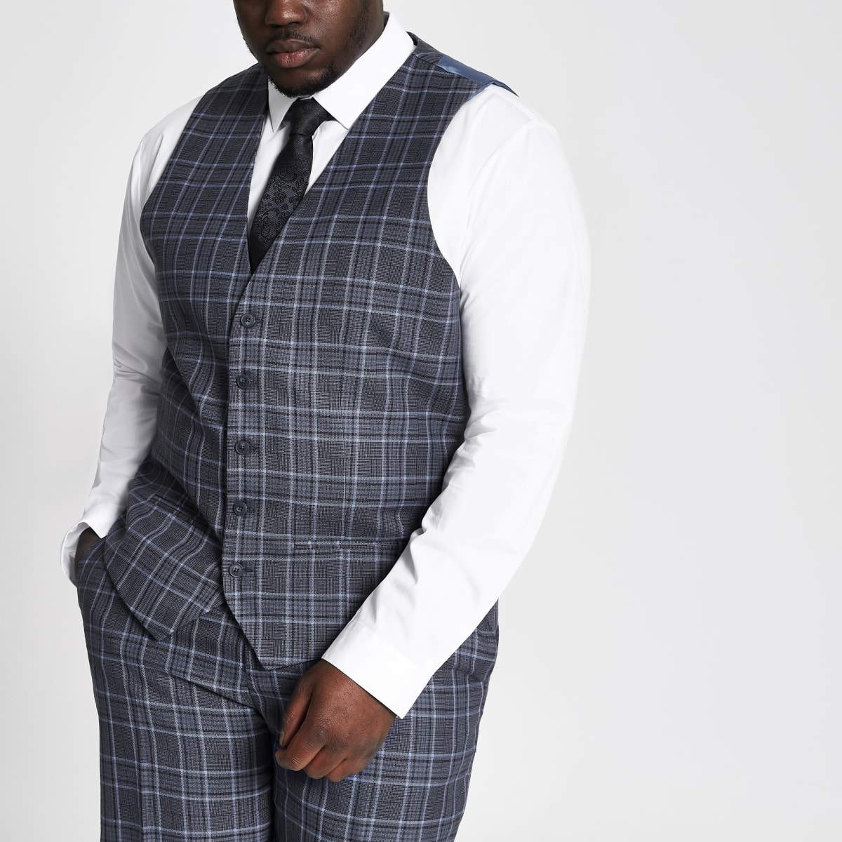 Big and Tall blue check suit waistcoat
