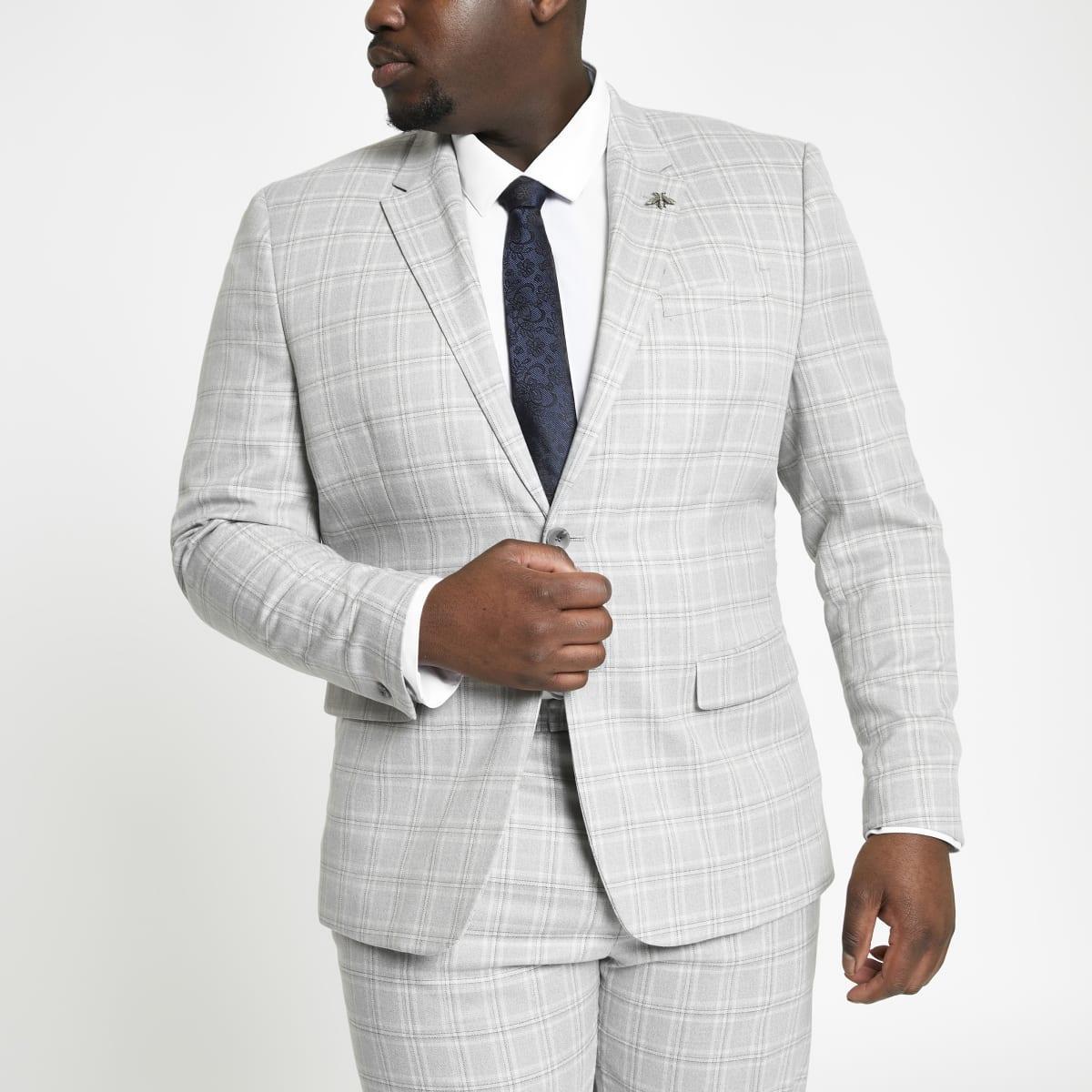 Big and Tall – Veste de costume à carreaux grise