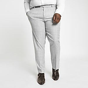 Big and Tall - Grijze geruite pantalon
