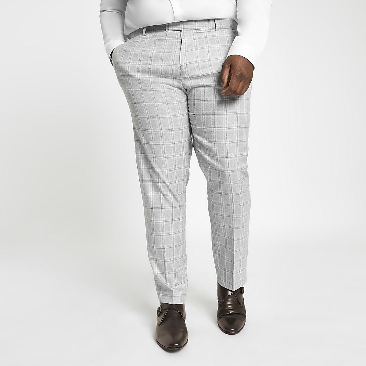 Big and Tall – Pantalon de costume à carreaux rouge