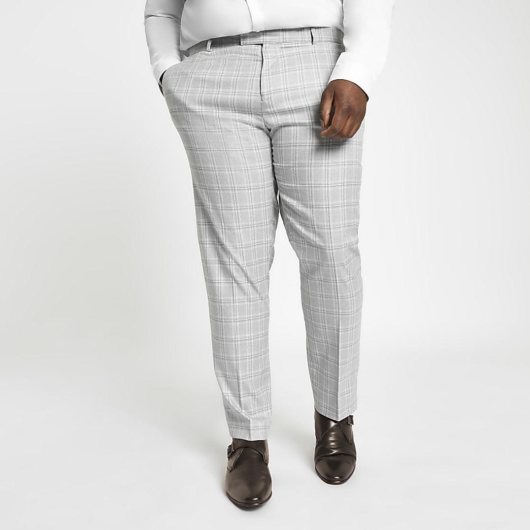 Big and Tall - Grijze geruite pantalon