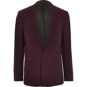 Big and Tall – Veste de costume rouge foncé