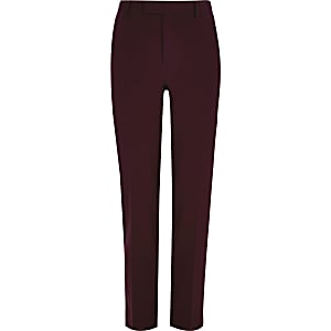 Big and Tall dark red suit pants