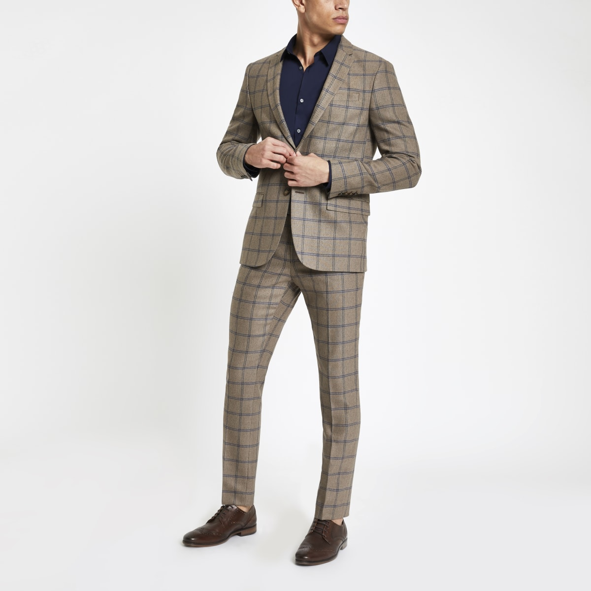 Ecru check skinny suit trousers