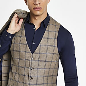 Ecru check slim fit suit vest