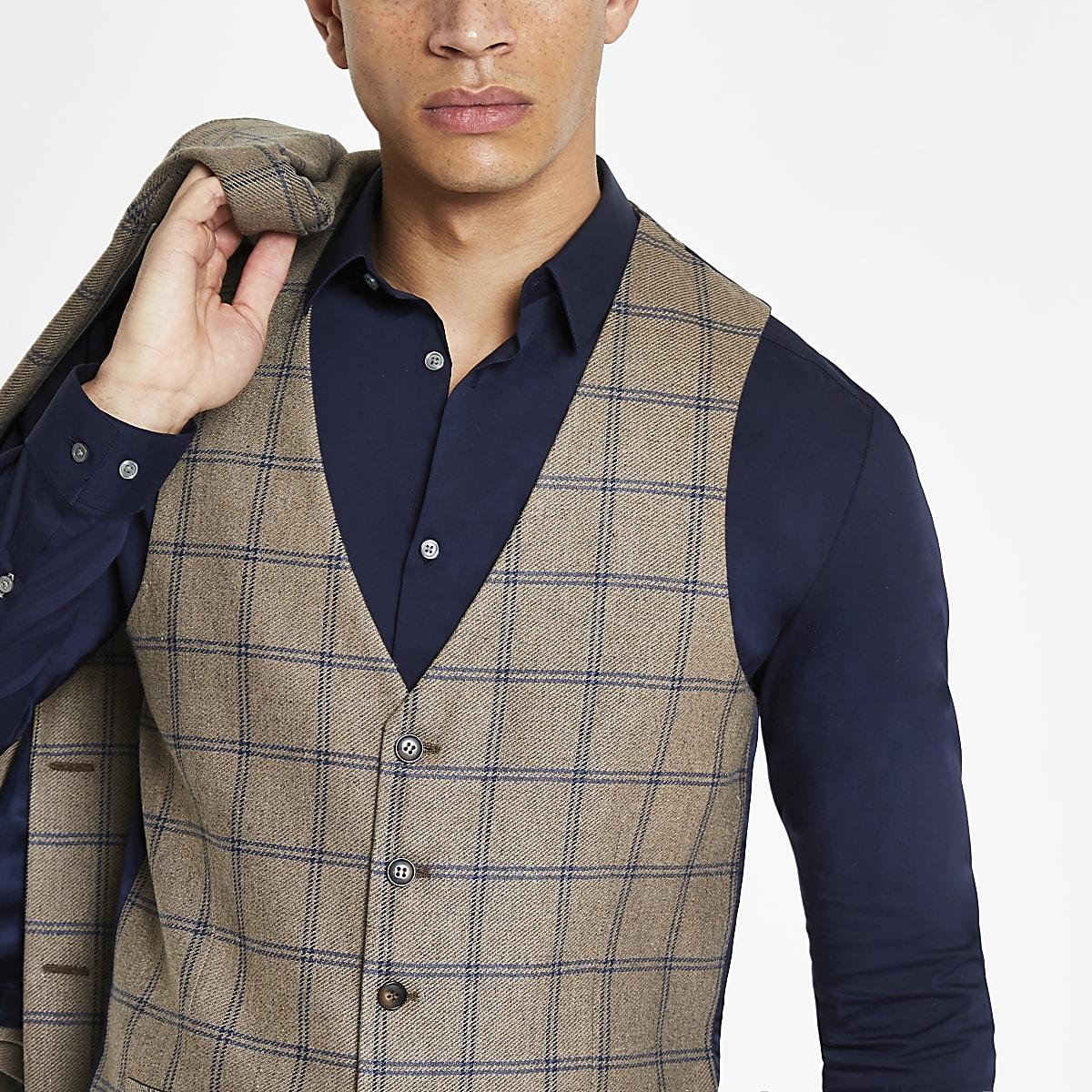 Ecru check skinny fit suit vest