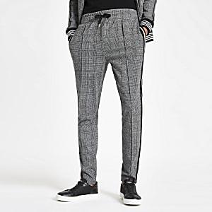 Pantalon de jogging slim à carreaux gris avec bande sur le côté