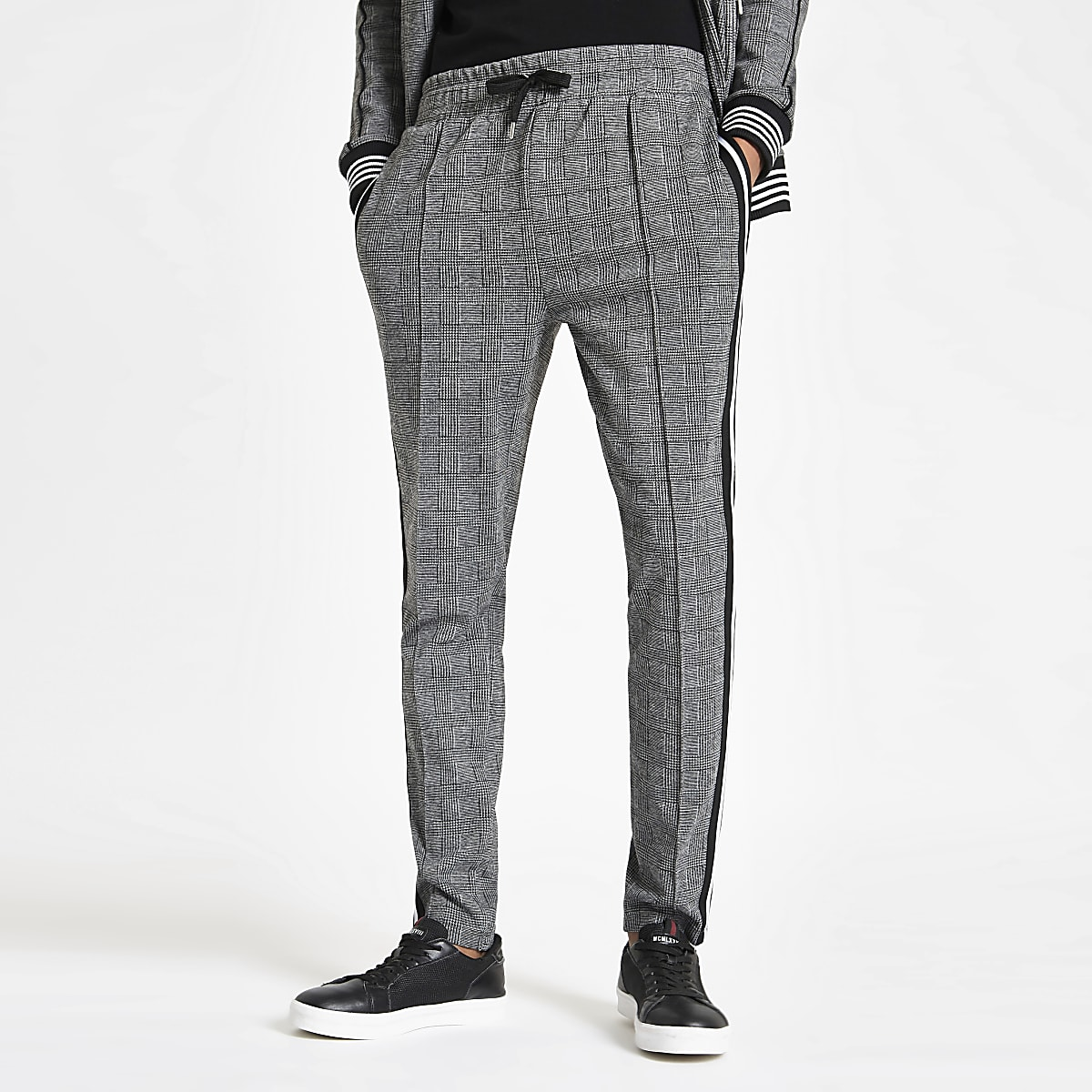 Grey check slim fit tape side joggers