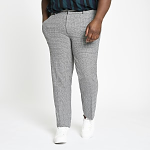 Big and Tall – Pantalon habillé à carreaux gris