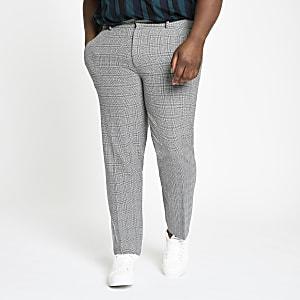 Big and Tall - Grijze geruite nette broek