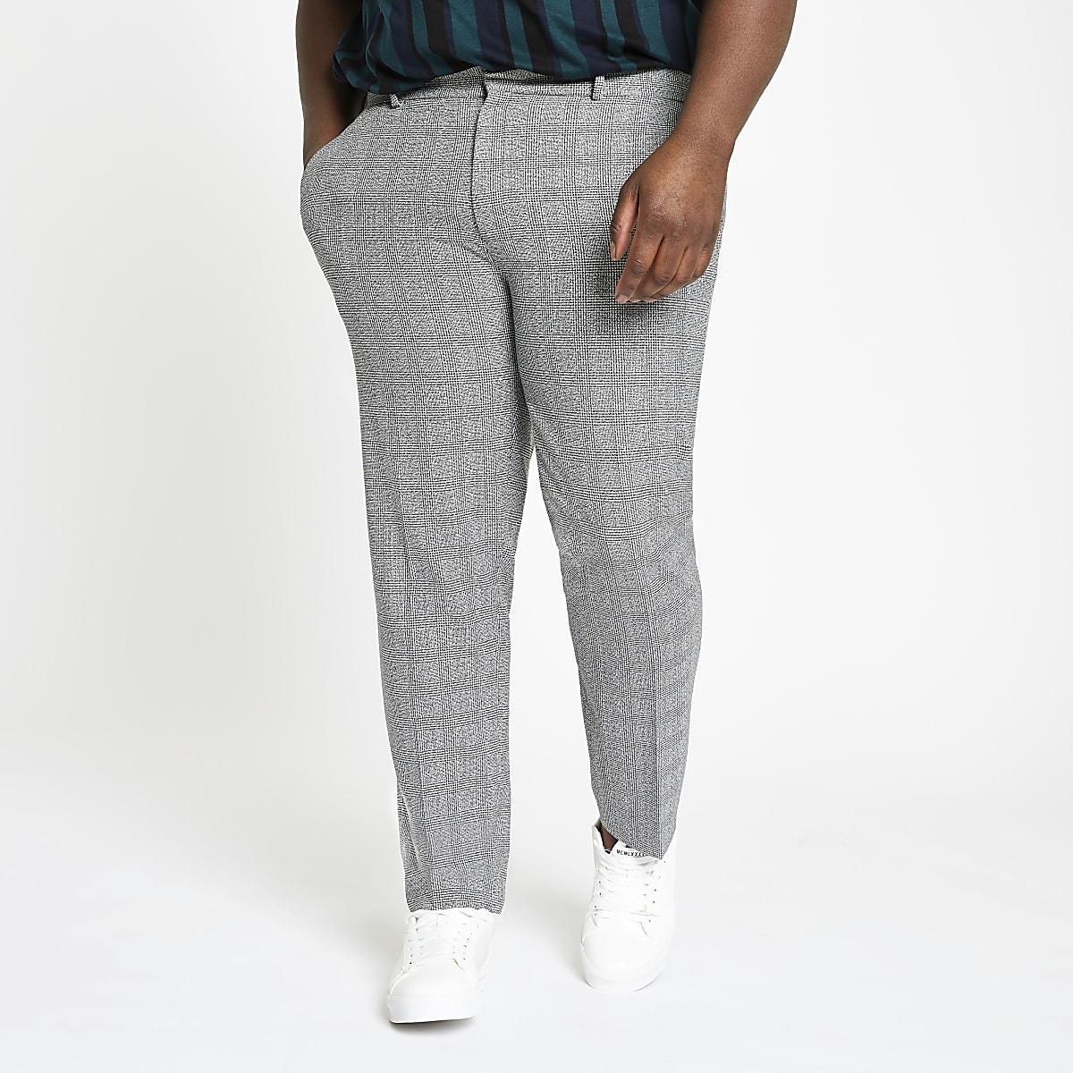 Big and Tall – Pantalon habillé à carreaux gris